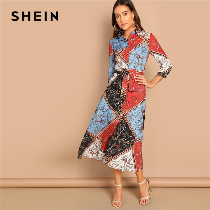 744d34bb77 SHEIN Multicolor Patchwork Print Shirt Dress Elegant Office Lady Long Sleeve  Mid Waist Dress Autumn Modern