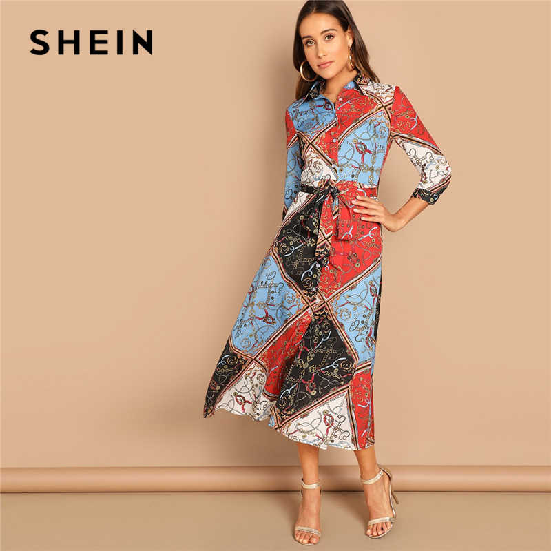 5cc9f8d7adc8 SHEIN Multicolor Patchwork Print Shirt Dress Elegant Office Lady Long Sleeve  Mid Waist Dress Autumn Modern