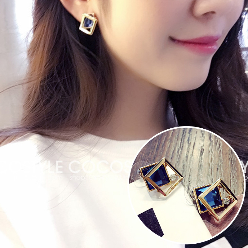 New Design Hot Sale Fashion Jewelry Simple Black Crystal Metal Earrings aretes de mujer modernos 2019