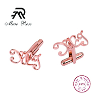 Muse Rose Mens Classic silver Initial Cufflinks 925 Silver Jewelry Alphabet Letter Cufflinks Formal Business Wedding Shirts