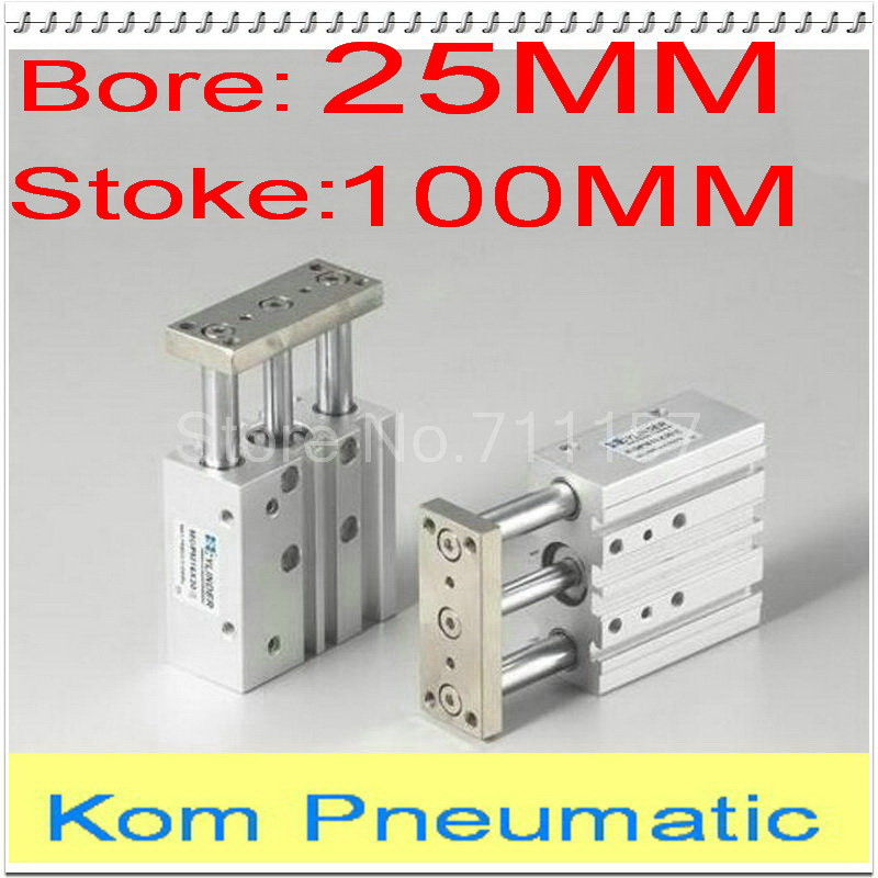 1 8 Pneumatic Three Rod 25 100 Compact Guide Cylinder Slide Bearing Double Acting Bore 25mm