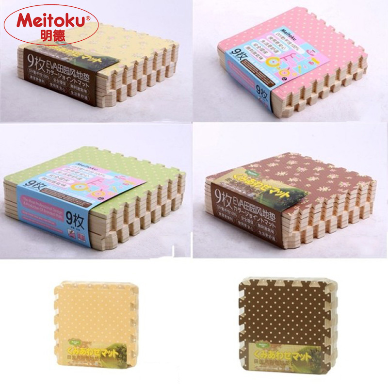 """Meitoku Baby EVA-Schaum spielen Puzzle Matte / 9 Stücke Verriegelung Bodenmatte, jeweils 30 cm X 30 cm X 1 CM = 12 """"X 12"""" X3 / 8"""