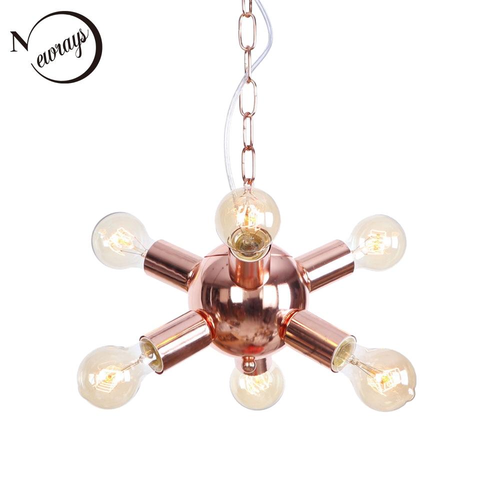 Modern Iron Plated Multi-branche Rose Gold Pendant Lamp E27 220V LED Hanging Light Fixture For Restaurant Bedroom Foyer Cafe Bar
