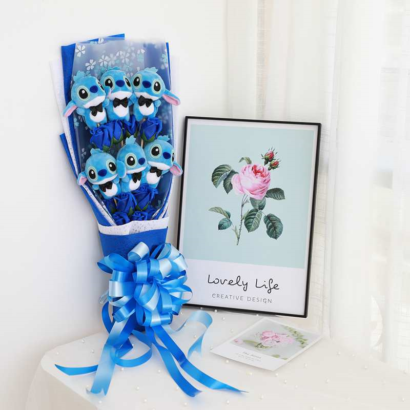 Soft Stitch Bouquet Plush Stuffed Animals Toys Artificial Kawaii Cartoon Fake Flowers Valentine's Day Gifts Wedding Decoration