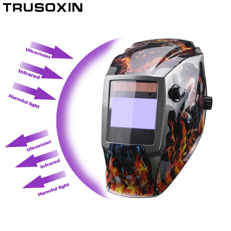 Pro Rechangeable Battery 4 Arc Sensor Solar Auto Darken Shading Grinding Tig Arc Big View Welding helmet Welder Goggle Mask Cap in Welding Helmets from Tools