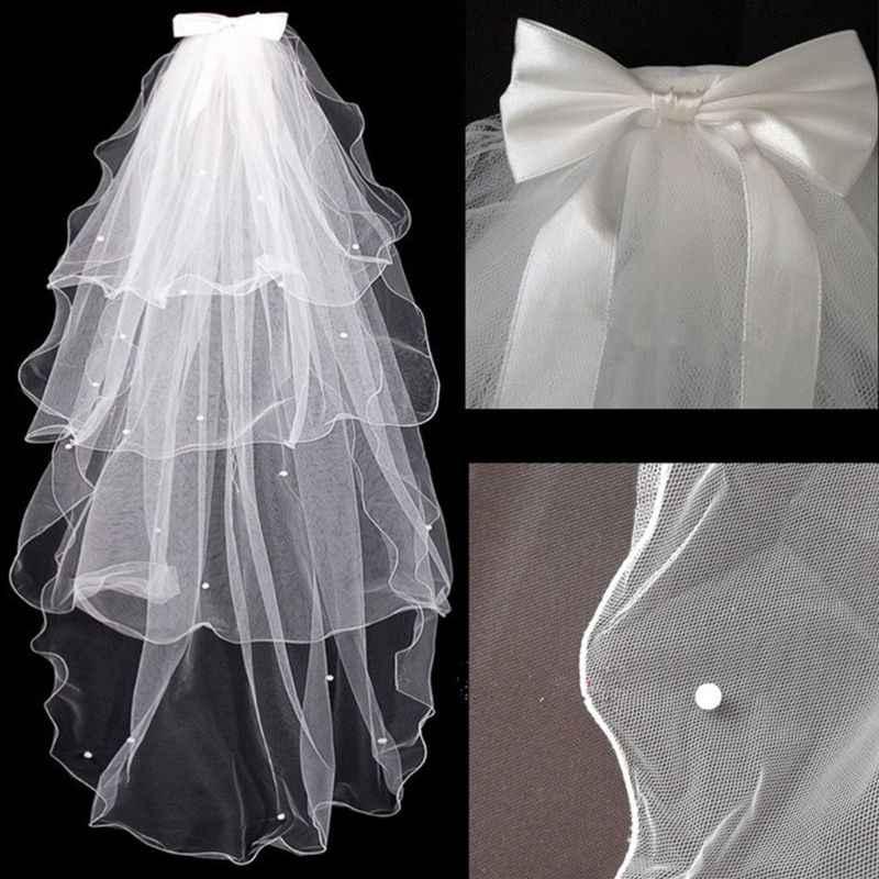 Tulle Abito Da Sposa Veli Bianco Bowknot Da Sposa Multi-Strato di Velo Dei Capelli Pettine Perle di Faux Sposa Fata Matrimonio Accessori