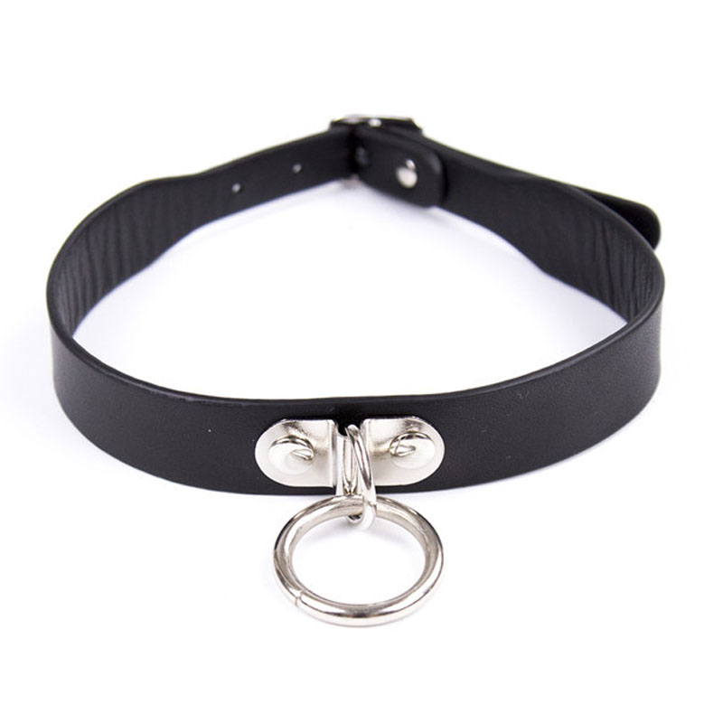 Buy Metal O-ring leather bondage neck collars adult games cosplay collar bdsm fetish wear slave restraints sex toys woman