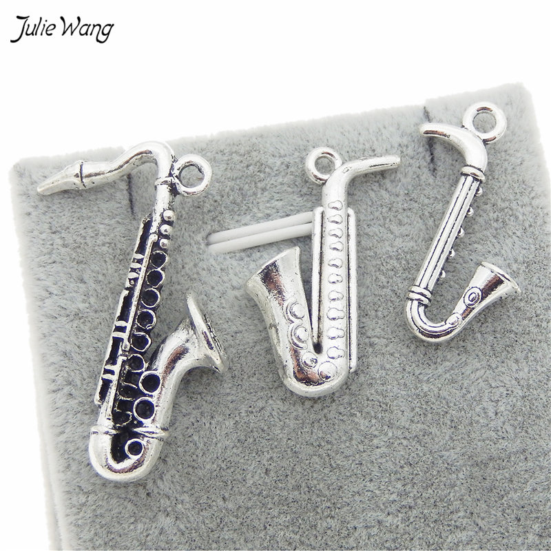 Mixed Music Instrument Saxophone Charms Antique Silver 54054-2