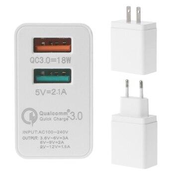 SIV 18W QC 3.0 Quick Charging Dual USB Ports Wall Charger Adapter EUUS Plug