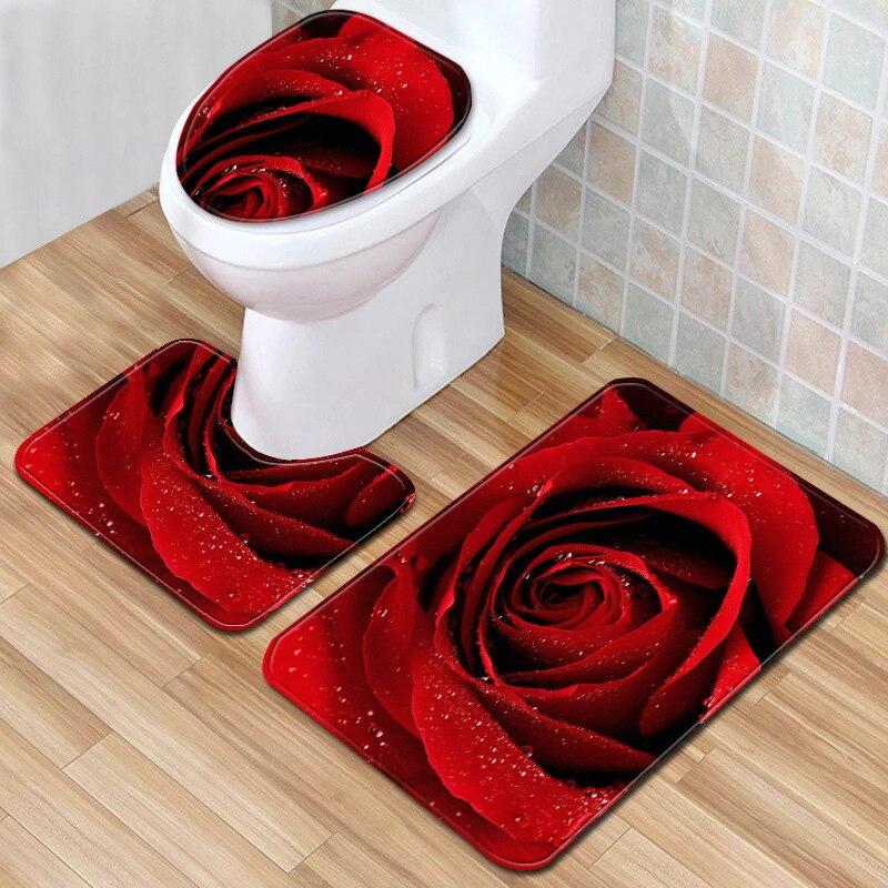 T Rose Bad Matten Valentinstag 3 Stück Badezimmer Set Teppich Anti Slip Teppich für Wohnkultur Wc Matte 3D Dropship Bad Teppich
