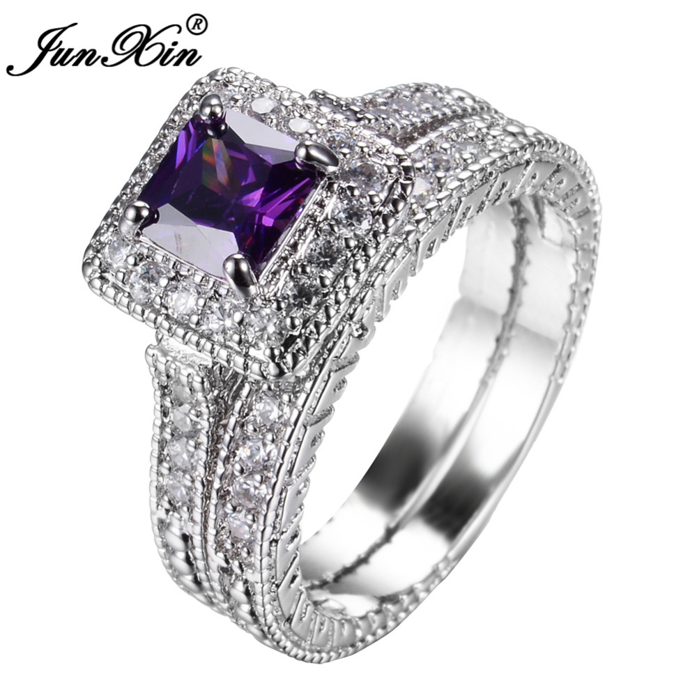 Junxin Elegant Purple Ring Set For S White Gold Filled Women Wedding Engagement Rings Top Fashion Jewelry In From Accessories
