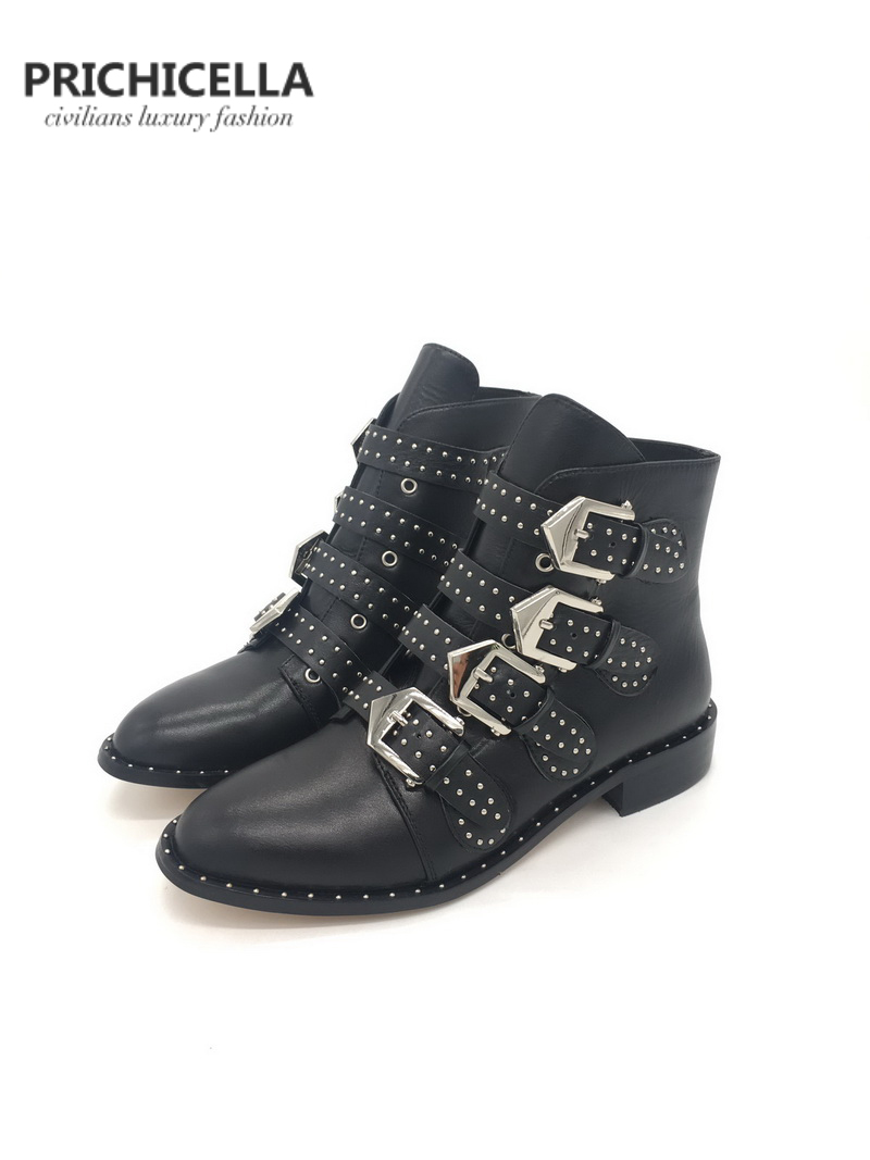 PRICHICELLA genuine leather studded buckle strap ankle booties womens flats combat boots ...