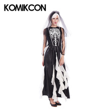 Ghost Bride Vampire Witch Zombie Cosplay Costume For Adult Women Sexy Dresses With Head Wear Full Set Halloween Fancy Party