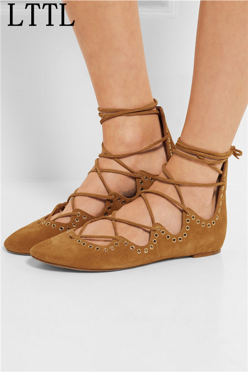 ФОТО 2016 New Bohemian Style Suede Ankle Cross Lace Up Flat Bottom Ballets Shoes Grommet Wearable Bottom Women Loafers