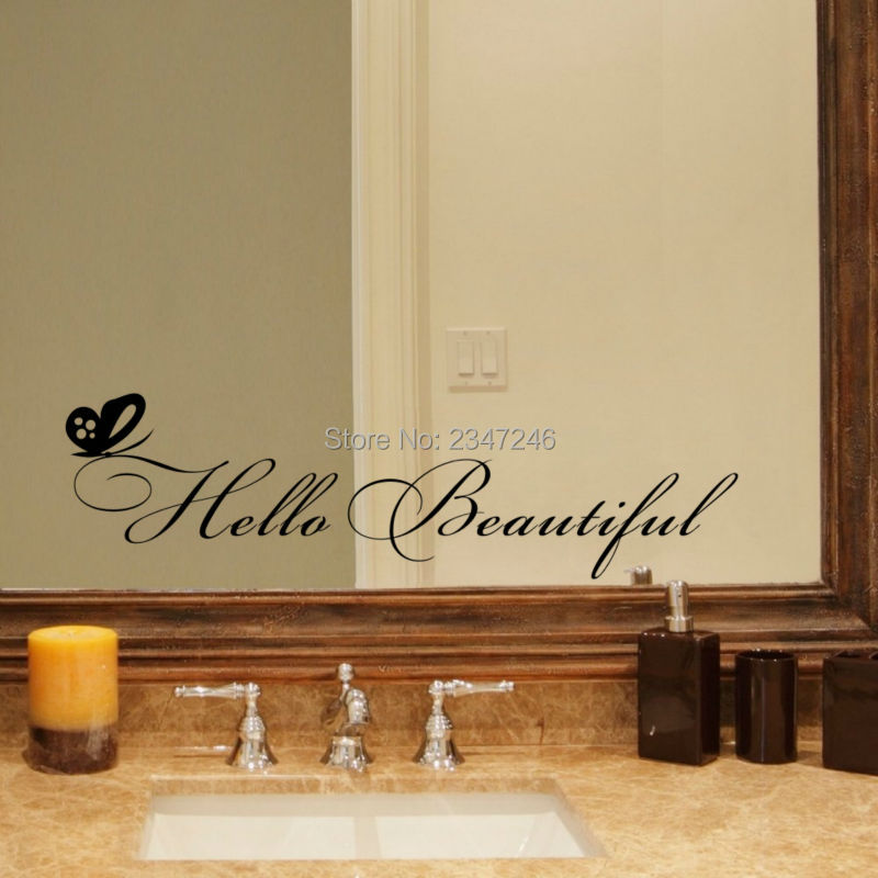 Hello Beautiful Quotes Wall Decals Vinyl Stickers For Bedroom Or Bathroom Mirror DecorChina
