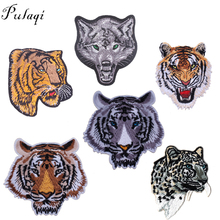 Pulaqi Iron on Stickers DIY Lion Tiger Wolf Patch Accessory for Clothes Patches Women Animal badge A-level Washable Appliques F
