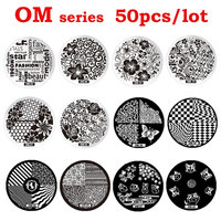 New Arrival 50pcs OM Stamping Nail Art Steel Polish Print Image Plates Mold DIY Nail Stamp