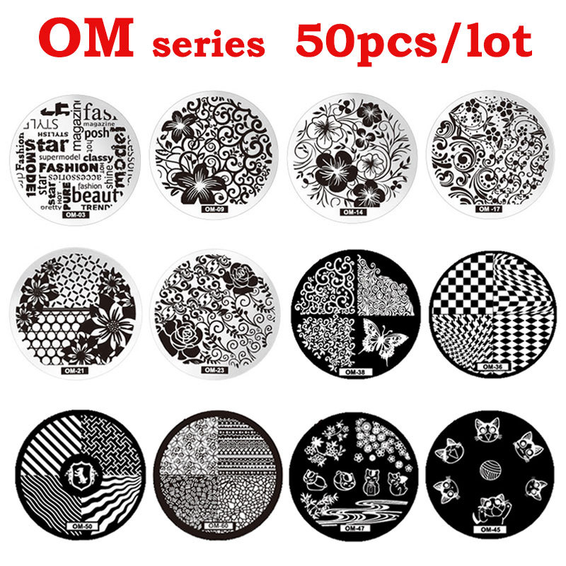 New Arrival 50pcs OM Stamping Nail Art Steel Polish Print Image Plates Mold DIY Nail Stamp Template Wholesale image art