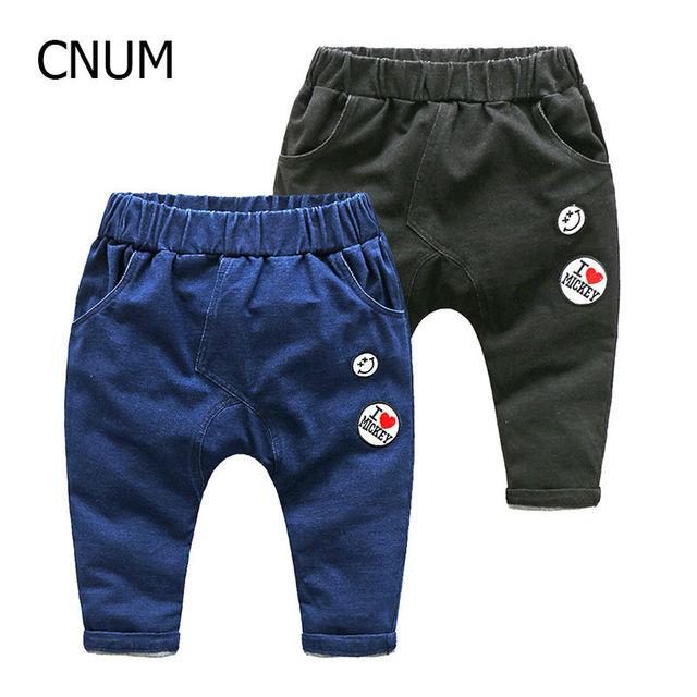 Primavera Meninos Jeans Boutique de Roupas infantis Menino Denim Bordado Harem Pants Calças Virilha Calças de Malha das Crianças