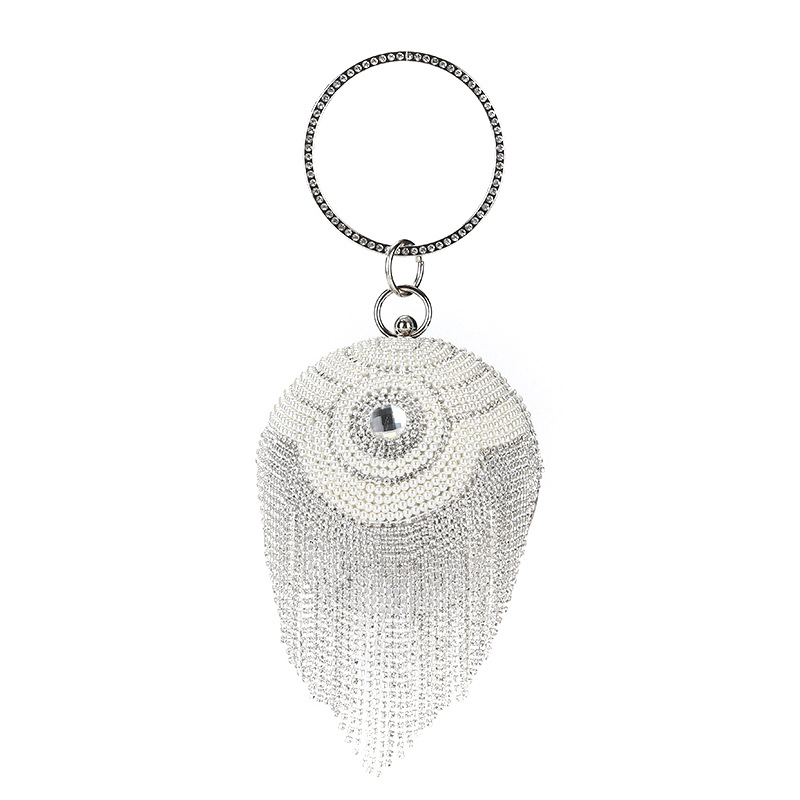 Mini Round Top Handle Handbags Female Rhinestone Tassels Evening Clutch Party Women'S Bag Sliver Ladies Hand Bags Purse Wallets