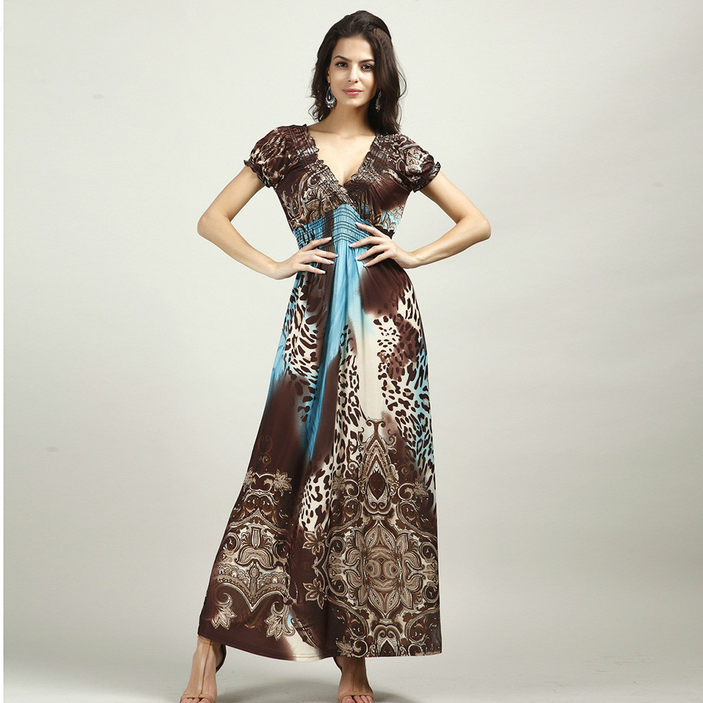 Vogue Винтаж Стиль леопардовое платье летние шорты рукавом Эластичная лента высота талии большой Размеры платья богемный холодный Тип пляжны