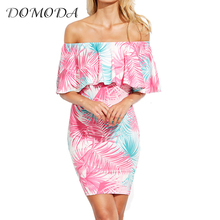 DOMODA Floral Printed Mini Dress Women Sexy Slash Neck Ruffles Off Shoulder Bodycon Dresses Party Pencil Dress Vestidos Female