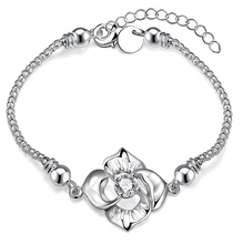 Hot Sell!Wholesale Silver-Plated Bracelet Large Flower Three layer Thick Silver Plated bracelets Round Cubic Zirconia Bracelets