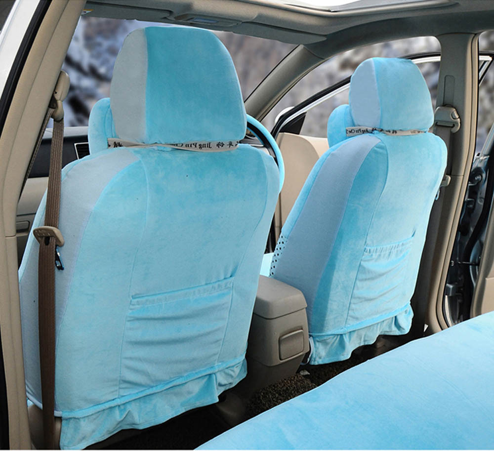 Hello Kitty 18pcs Fashion Cool Car Seat Covers Soft Plush Light Blue Steering Wheel Cover Front And Rear In Automobiles From