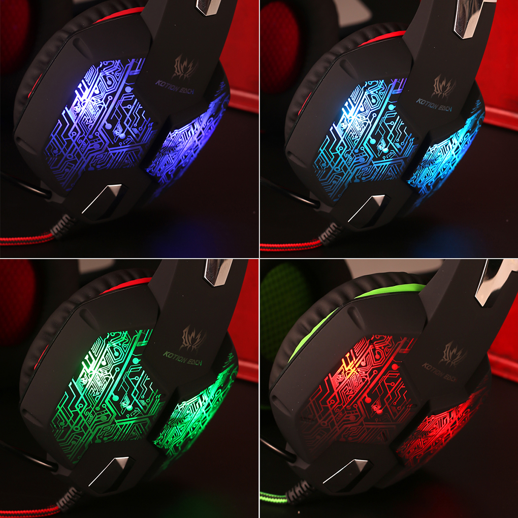 Universal Surround Stereo Wired PC Gaming Headphone Over Ear Noise Isolating Headset Earphone With Mic LED For Tablet PC