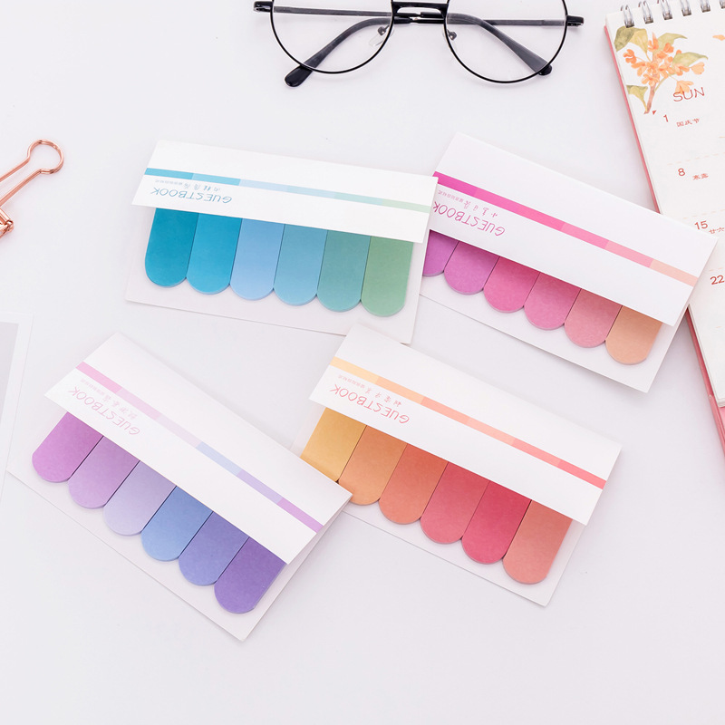 Cute Gradient Color Memo Pad Sticky Notes Cute Colorful Planner Page Index Stickers Stationery Paper Bookmark School Supplies
