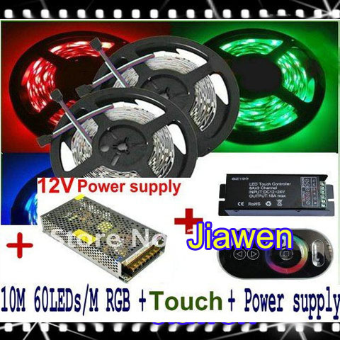 ФОТО 10M RGB SMD 5050 Waterproof IP65 Led Strip Light 60Leds/Meter 2*5M +Black Wireless RF Touching remote Controller+Power/Adapter