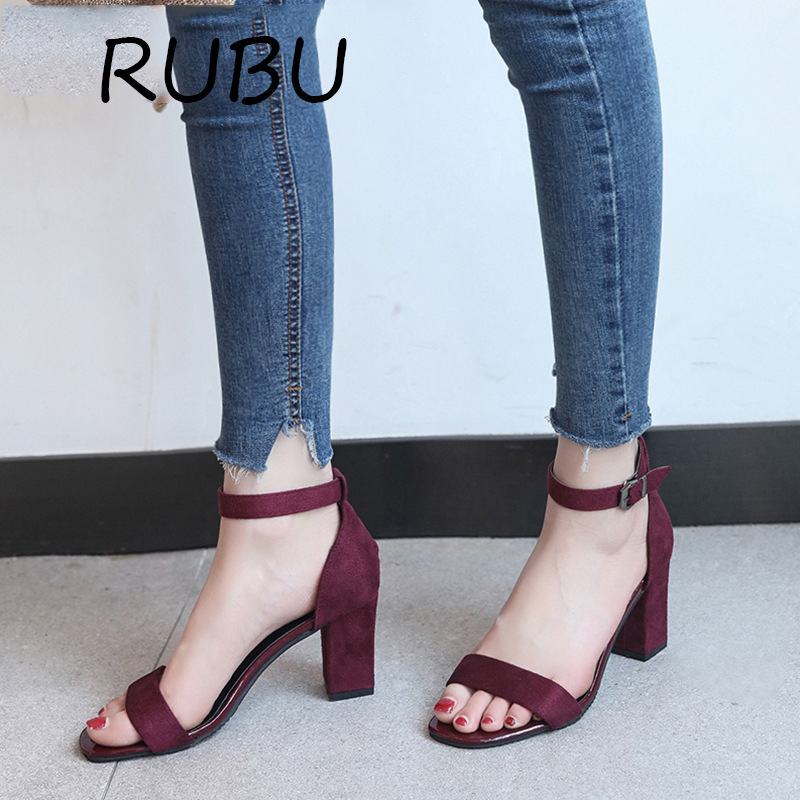 New Summer Shoes Women Thick Heel Sandals Buckle Strap Flock Square Heel Women Sandals Red Black Solid Footwear Dress Chaussure xiaying smile summer new woman sandals platform women pumps buckle strap high square heel fashion casual flock lady women shoes