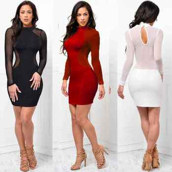Women See Through O Neck Long Sleeve Bandage Bodycon Evening Sexy Party Short Mini Dress