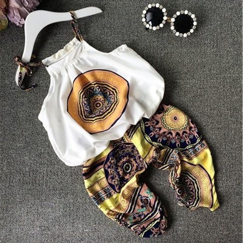 Ensemble de vêtements pour petites filles | Ensemble de costume 2 pièces pour enfants, tenue avec étiquette de Style National, pantalons pour enfants, sans manches