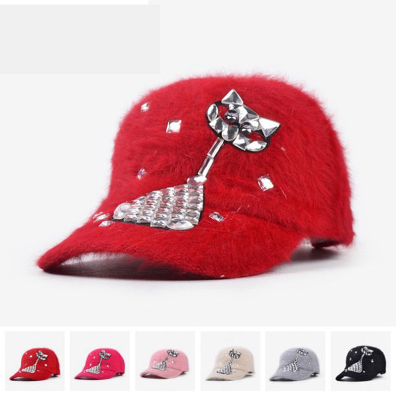 One Piece Women Autumn Winter Visors Baseball Caps Diamond Beads Hipster Snapback Caps Cartoon Cat Wool Caps YJWC432