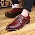 Monk Strap Men Leisure Leather Shoes Fashion Low Top British Flats Brogue Style Free Shipping
