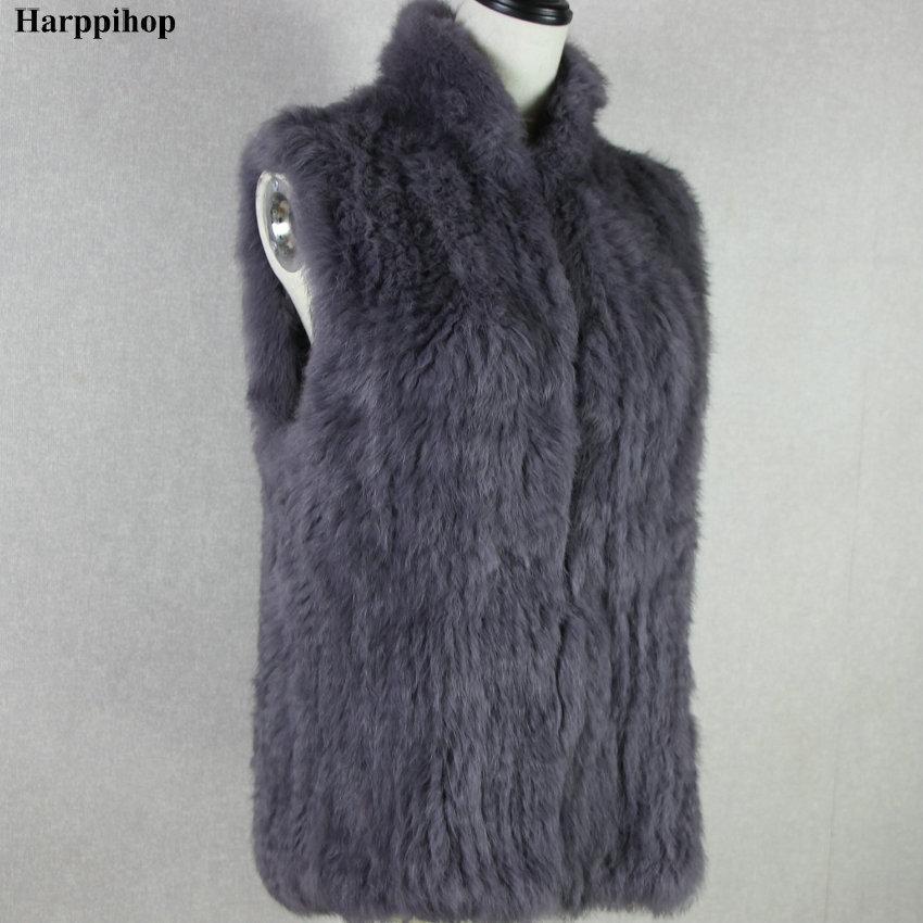 Women's Knitted Real Rabbit Fur Vest Pullover Solid Female Fashion Warm Coat rabbit print pullover