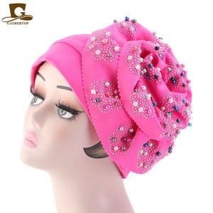Image 5 - Moda feminina de luxo muçulmano hijab frisado rei flor turbante headwrap quimio turbante senhoras bandanas acessórios para cabelo