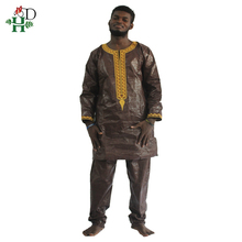 H&D african bazin riche men africa dress embroidery traditional man clothes t shirt tops pant set dashiki print wax mens