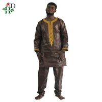 H&D african bazin riche men africa dress embroidery traditional man clothes t shirt tops pant set dashiki print wax africa mens