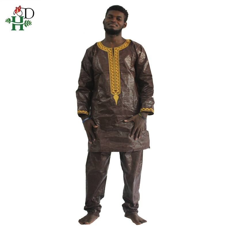 H&D <font><b>african</b></font> bazin riche <font><b>men</b></font> africa dress embroidery traditional man clothes t <font><b>shirt</b></font> tops pant set dashiki print <font><b>wax</b></font> africa <font><b>mens</b></font> image