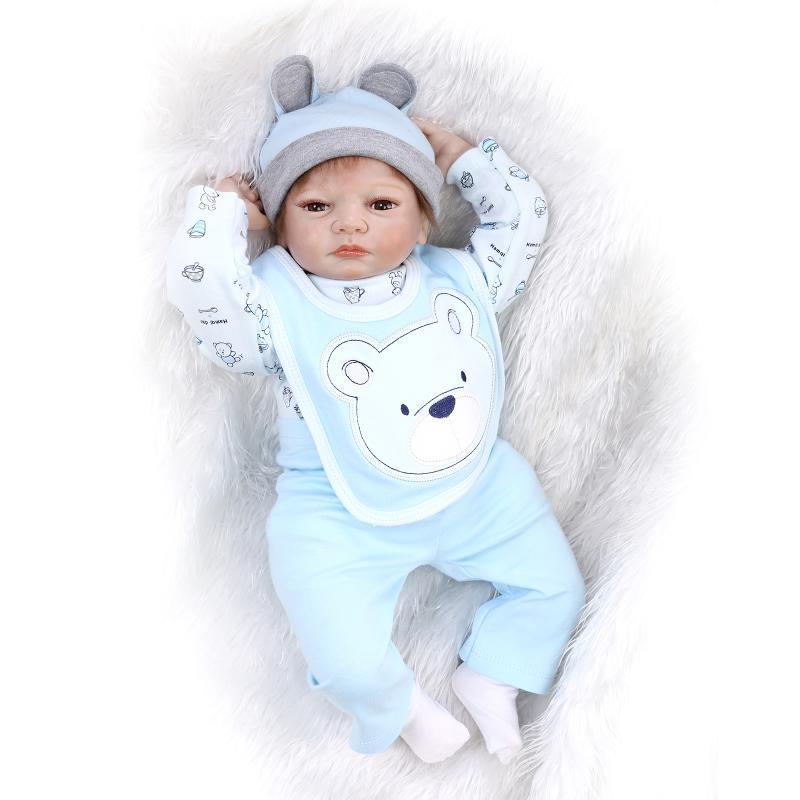 """22"""" reborn baby dolls for sale silicone-reborn-babies blue clothes magnetic pacifier bonecas reborn girls toys gift"""