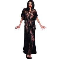 Plus Size Transparent Baby Doll Sexy Lingerie Hot Lace Robe Thong Long Dress Sleepwear Erotic Lingerie