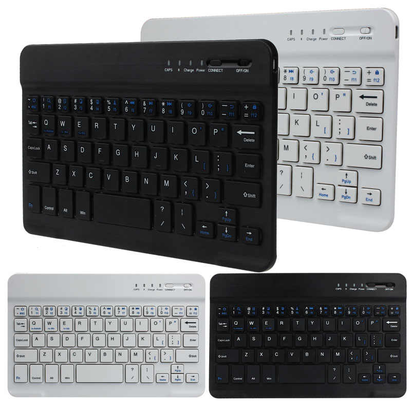 Ultra Aluminium Wireless Bluetooth Keyboard untuk IOS Android Windows PC Slim Portable Teknik Keyboard Bluetooth Keyboard