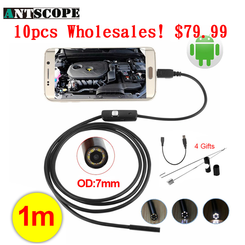 Antscope Wholesale 10pcs 7mm Lens Android Endoscope Camera 1M Waterproof Snake Tube USB Borescope Camera Endoskop Android Phone antscope wholesale 7mm lens mini usb android endoscope camera waterproof snake tube 2m inspection usb borescope endoskop camera