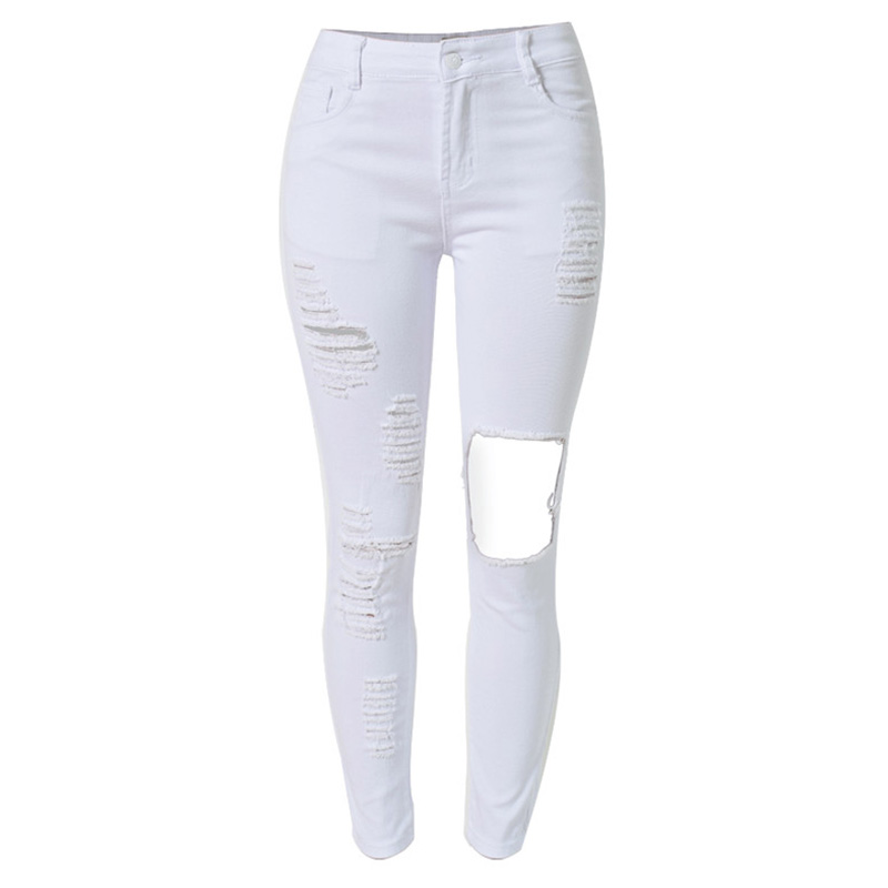 White Ripped Skinny Jeans For Women | Bbg Clothing