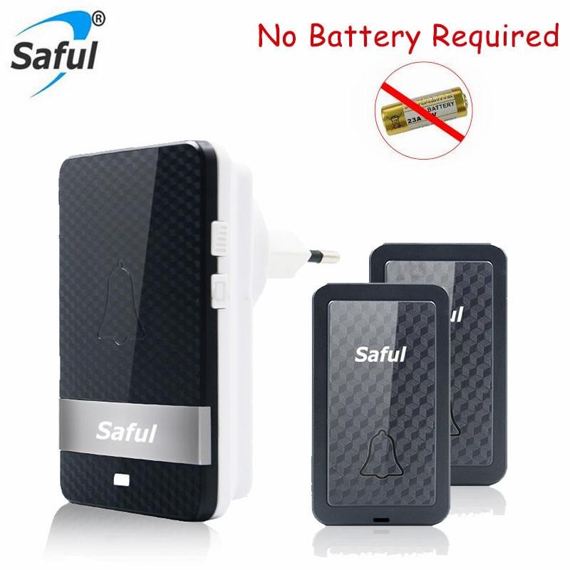 New Saful No Battery Required Wireless DoorBell 28 Ringtones Smart LED Door Bell EU US plug