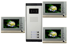 High Definition Wired Video Door Phone Intercom System for Multiply Layer Apartment One Camera+3 Monitors
