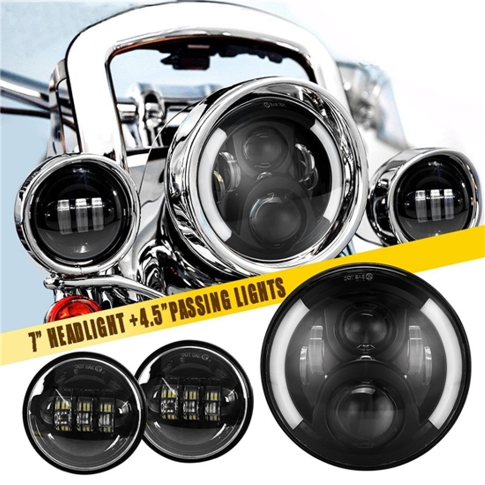 Motorcycle 7inch LED Protection Headlights 60W with Halo Angel eyes+ 2Pcs 4.5Inch 30W LED Fog Light Auxiliary For Harley Touring 1pcs 7 45w led projector headlights 2pcs led fog light with halo angle eye 4 5inch 30w for harley davidson