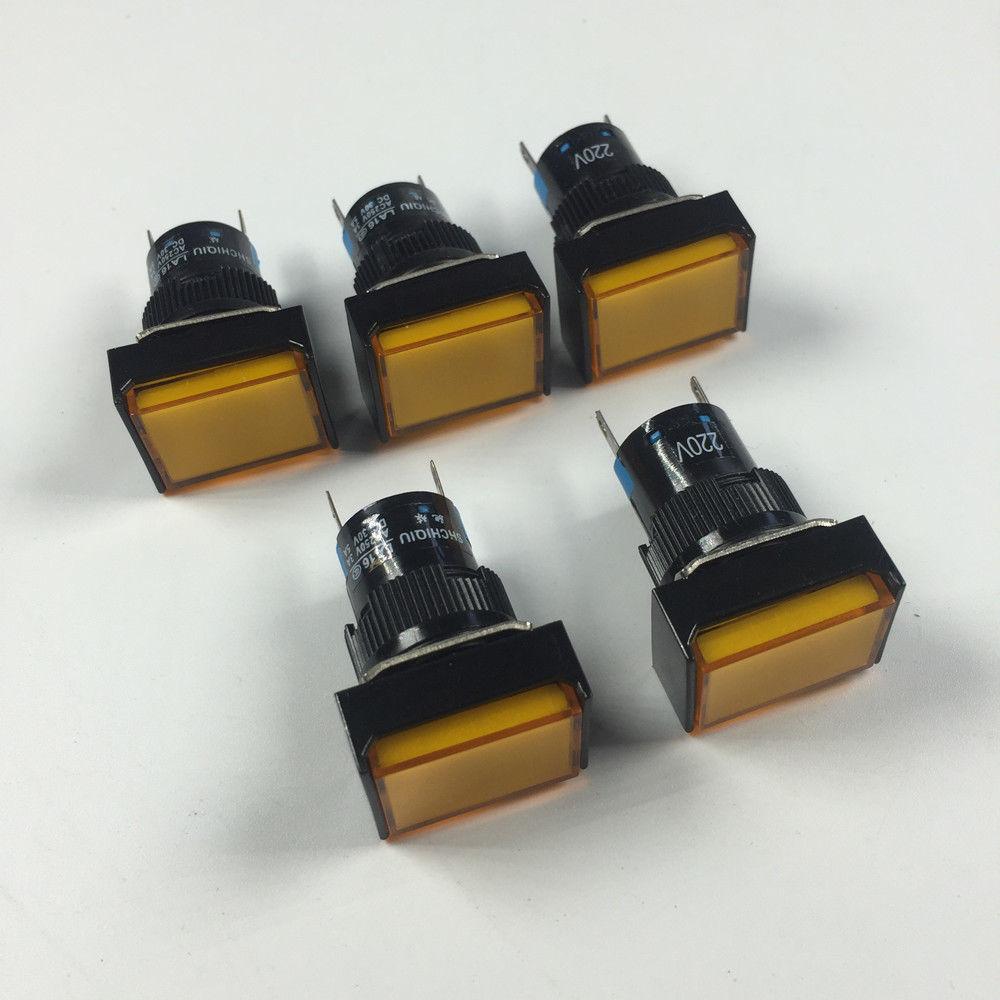 5 шт. прямоугольник Тип 2 контакты индикатор авария сигнальные лампы 12 В 24 В 220 В